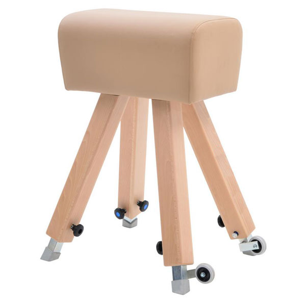 Vaulting buck with height adjustment, wooden trunk & legs, synthetic cover