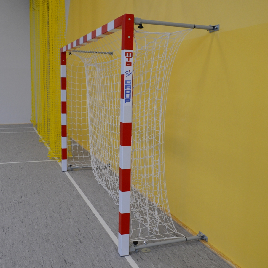 aluminum goal folded to the wall