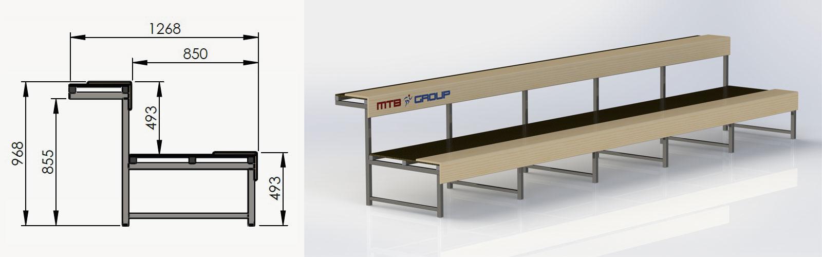trybuna stała z siedziskiem typu ławka