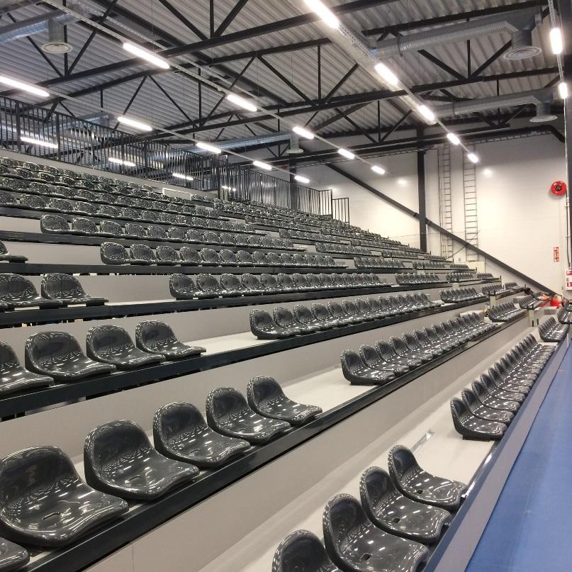 Telescopic folding tribune - plastic seats