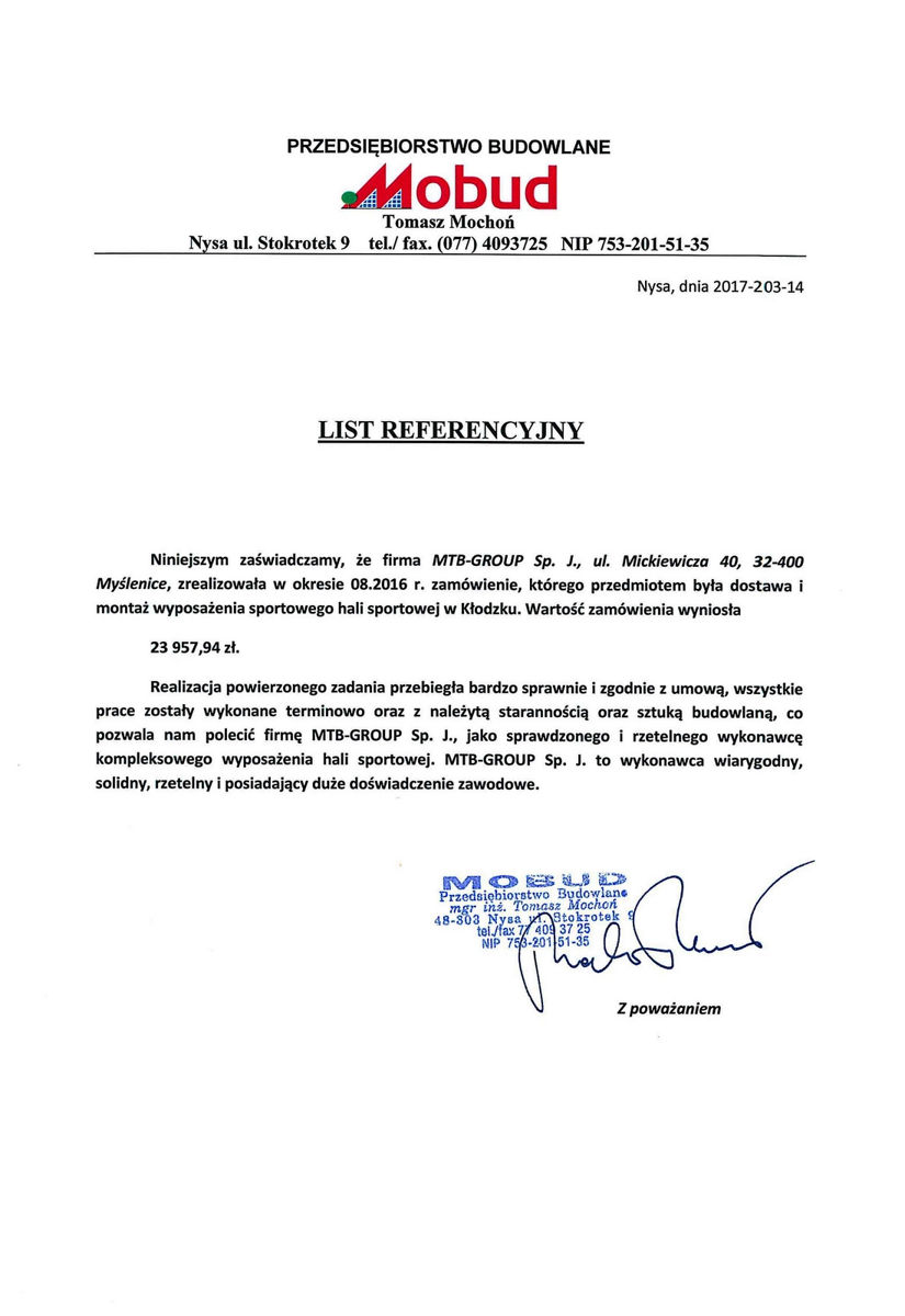Referencje Witaszyce