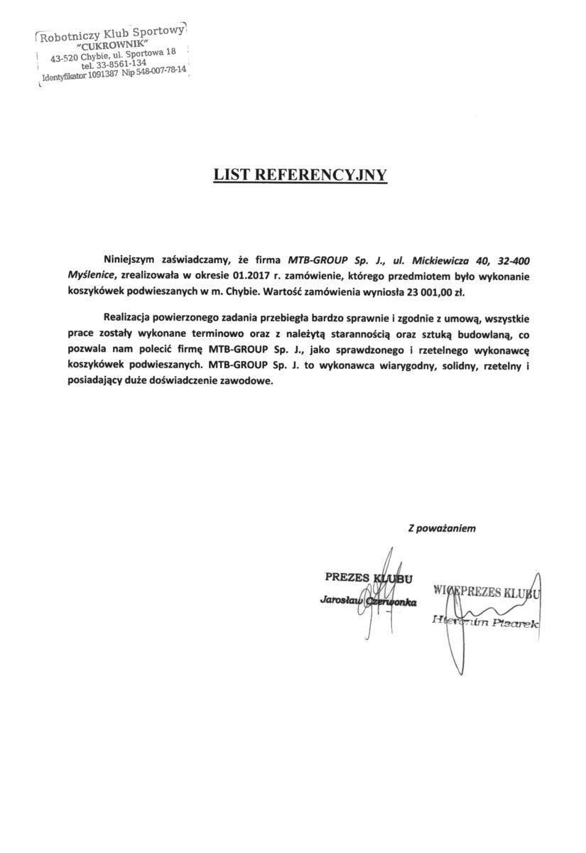 Referencje RKS Cukrownik